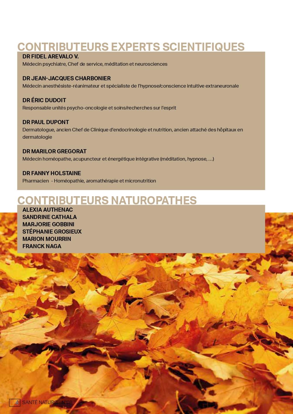 SANTE NATURO 08 DB Pages - santé naturelle intégrative - naturopathie - contributeurs